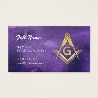 Masonic Grand Lodge Business Cards | Purple & Gold