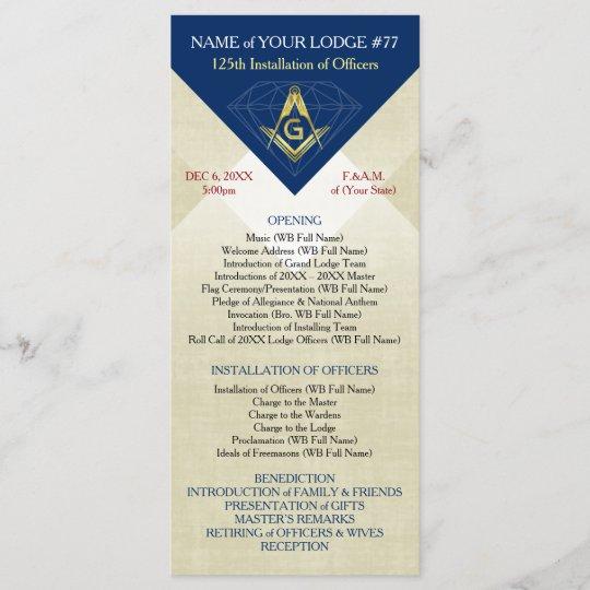 Masonic Installation Template | Blue Diamond