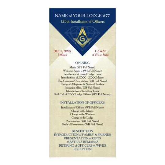Masonic Installation Template Blue Diamond Rack Card Zazzle Com