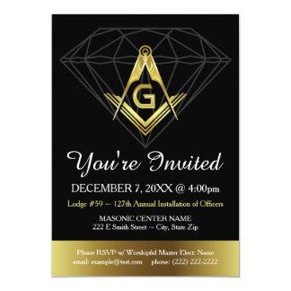 Masonic Invitation | Gold & Black Diamond Template