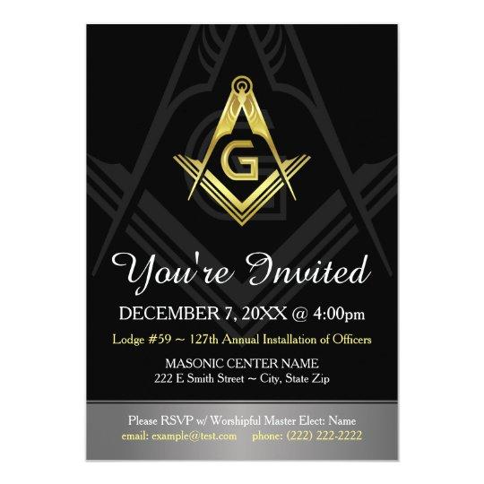 Masonic Invitation Template Black Gold Silver Zazzle Com