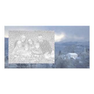 Masonic lodge, church steeple, snowy Oregon forest Photo Greeting Card