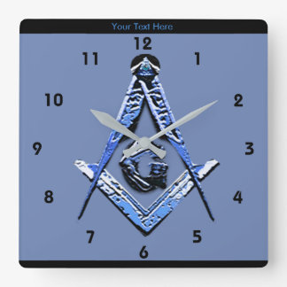 Masonic Minds (Blue) Square Wall Clock