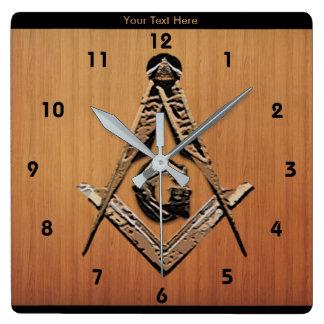 Masonic Minds (Golden) Square Wall Clock