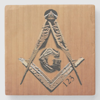 Masonic Minds (GoldenWooded) Stone Coaster