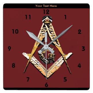 Masonic Minds (Yellowish) Square Wall Clock