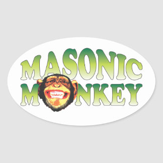 Masonic Monkey Oval Sticker