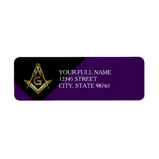 Masonic Return Address Labels | Purple & Gold