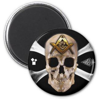 Masonic Skull & Bones Compass Square 2 Inch Round Magnet