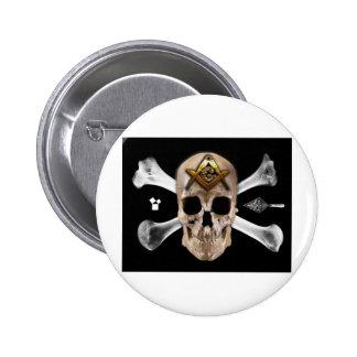 Masonic Skull & Bones Compass Square Button