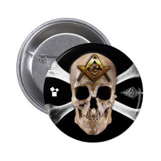 Masonic Skull & Bones Compass Square Pinback Button