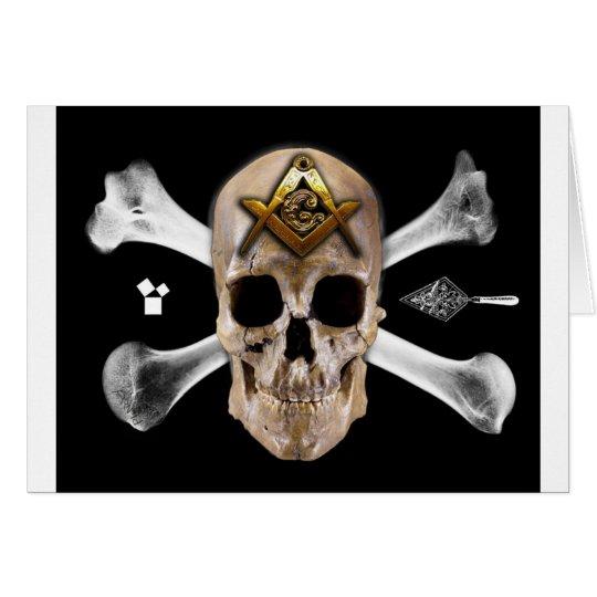 Masonic Skull & Bones Compass Square Card