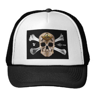 Masonic Skull Bones Compass Square Mesh Hat