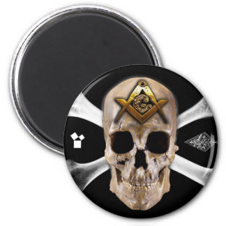Masonic Skull & Bones Compass Square Fridge Magnet