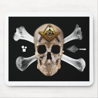 Masonic Skull & Bones Compass Square Mouse Pads