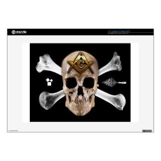 """Masonic Skull & Bones Compass Square Skins For 15"""" Laptops"""