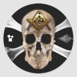 Masonic Skull & Bones Compass Square Classic Round Sticker