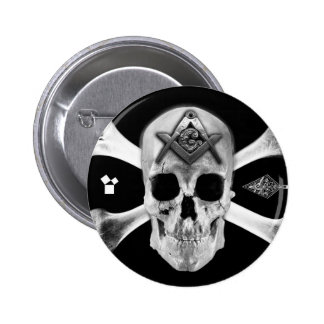 Masonic Skull & Bones, Square and Compass, Trowel, Pinback Button