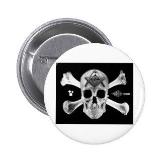 Masonic Skull & Bones, Square and Compass, Trowel, Button