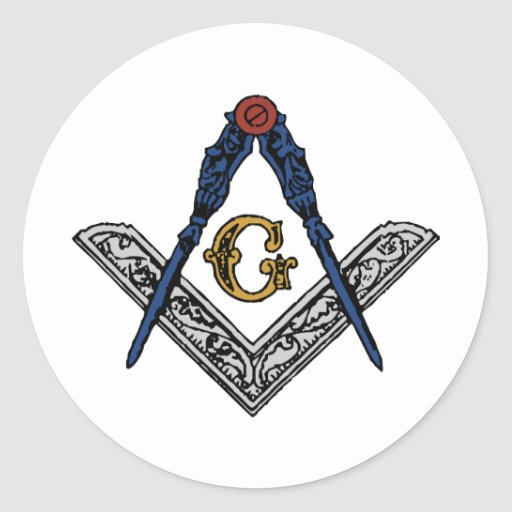 Masonic Square and Compass Classic Round Sticker