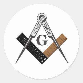 Masonic Square and Compass Round Stickers