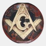 Masonic Square and Compass working tools Round Sticker