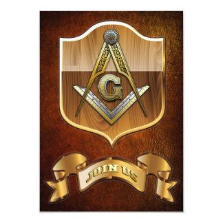 """Masonic Square and Compasses 5"""" X 7"""" Invitation Card"""
