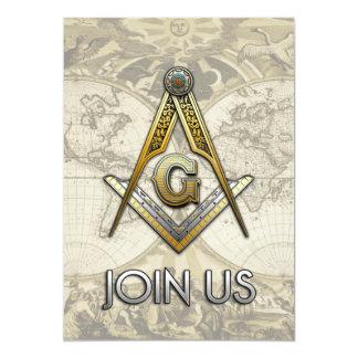 Masonic Square and Compasses 5x7 Paper Invitation Card