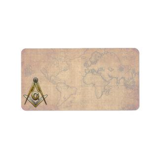 Masonic Square and Compasses Label