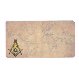 Masonic Square and Compasses Custom Shipping Label