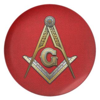 Masonic Square and Compasses Melamine Plate