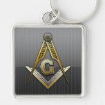 Masonic Square and Compasses Silver-Colored Square Keychain