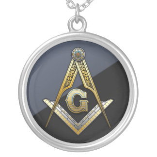 Masonic Square and Compasses Silver Plated Necklace