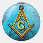 Masonic Square & Compass Turquoise Classic Round Sticker