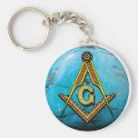 Masonic Square & Compass Turquoise Keychain
