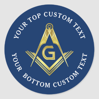 Masonic Stickers | Navy Gold Square & Compass