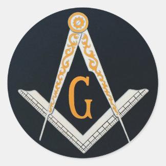 Masonic symbol classic round sticker