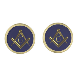 Masonic symbol of square and compass gold cufflinks