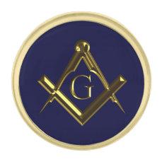 Masonic symbol of square and compass gold finish lapel pin