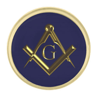 Masonic symbol of square and compass gold finish lapel pin