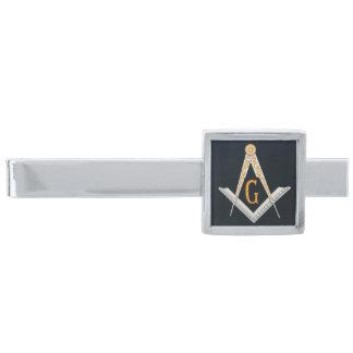 Masonic symbol silver finish tie clip