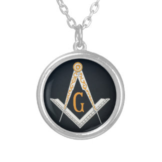 Masonic symbol silver plated necklace