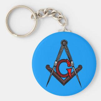 Masonic Victorian Square and Compass Keychain
