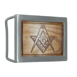 Masonic wooden design rectangular belt buckle
