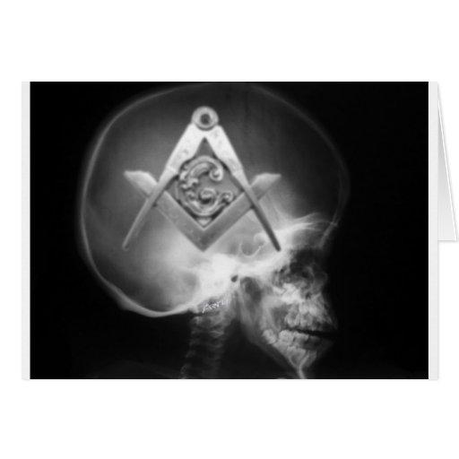 Masonic X-Ray Alien Skull Greeting Card