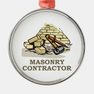 MASONRY CONTRACTOR ROUND METAL CHRISTMAS ORNAMENT