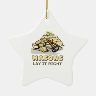 MASONS LAY IT RIGHT Double-Sided STAR CERAMIC CHRISTMAS ORNAMENT