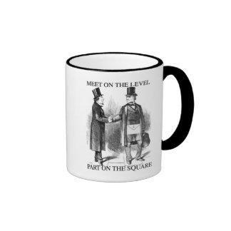 Masons meet on the level ringer coffee mug
