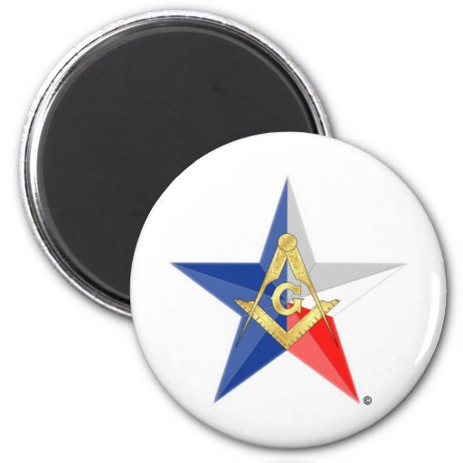 """Masons of Texas """"Star Line"""" 2 Inch Round Magnet"""