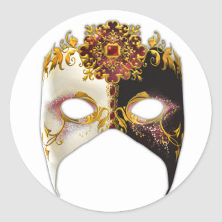 Masque veneciano: Joya de rubíes Pegatina Redonda